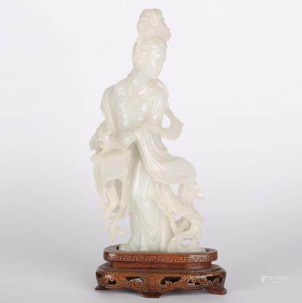 CHINESE WHITE JADE FIGURE OF LADY