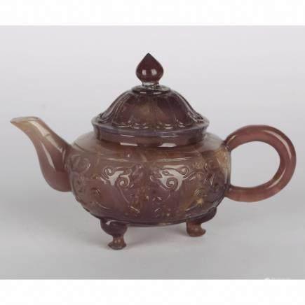 CHINESE QUARTZ/AMETHYST TEA POT