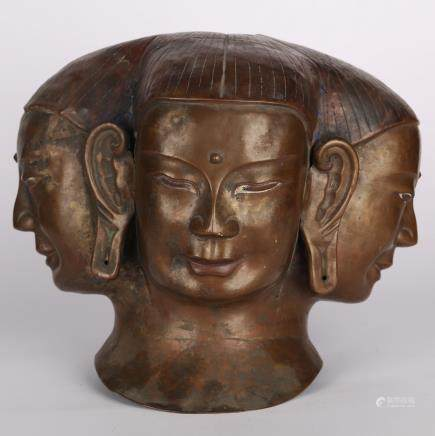 CHINESE BRONZE IMMORTAL HEAD OF 4 FACES