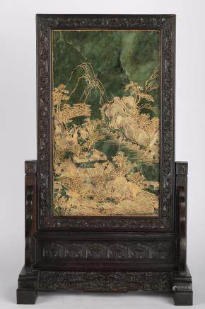 CHINESE SPINACH JADE PLAQUE ON WOOD TABLE SCREEN