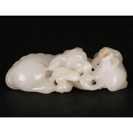 CHINESE WHITE JADE CARVED DOGS