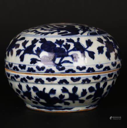 CHINESE BLUE WHITE PORCELAIN COVER BOWL