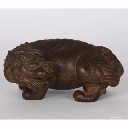 CHINESE BAMBOO CARVED BEAST