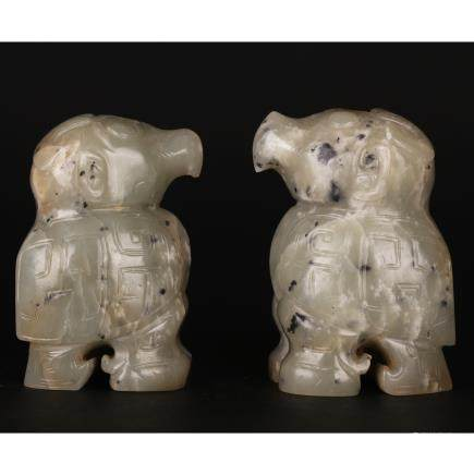 CHINESE PAIR OF ARCHAIC JADE STYLE BIRDS
