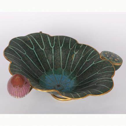 CHINESE CLOISONNE LOTUS BRUSH WASHER