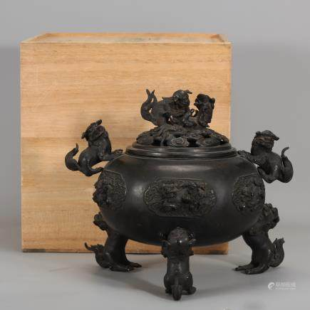 CHINESE BRONZE COVER CENSER