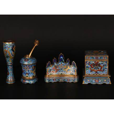 CHINESE SET OF 4 CLOISONNE SCHOLAR TABLE WARE