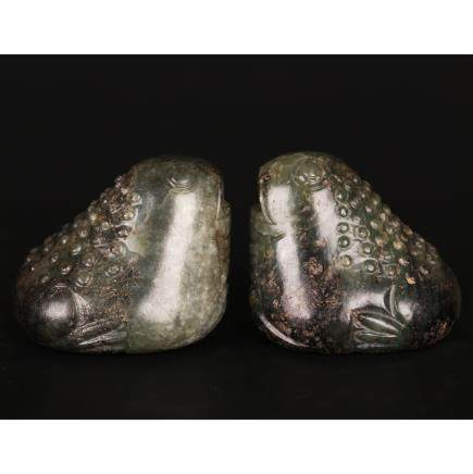 CHINESE PAIR OF JADE TOADS