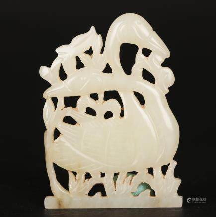 CHINESE WHITE JADE CARVED SWAN
