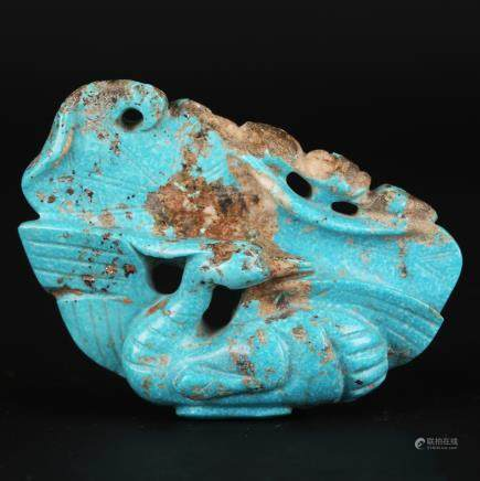 CHINESE TURQUOISE CARVED PENDANT