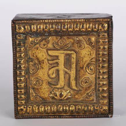 CHINESE GILT BRONZE GAU BOX