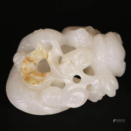CHINESE WHITE JADE CARVED FOOLION AND RUYI
