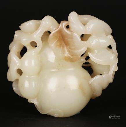 CHINESE WHITE JADE CARVED GOURD
