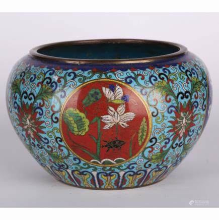 CHINESE CLOISONNE LOTUS JAR