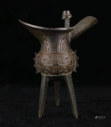 Bronze Jue Vessel With Mark
