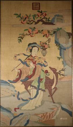 Qing Kesi Embroidered Panel of 'Ma-Gu'