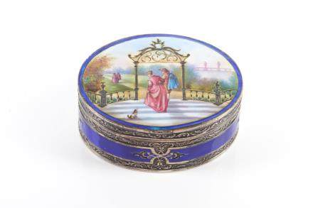 GERMAN SILVER AND ENAMEL PILL BOX