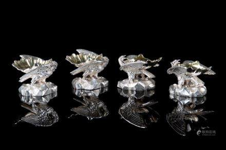 FOUR ENGLISH SILVER FIGURAL MASTER SALTS