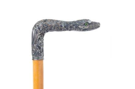 FRENCH FIGURAL SILVER SNAKE HEAD WALKING STICK