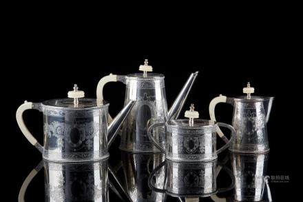 PORTUGUESE FOUR PIECE SILVER TEA & COFFEE SERVICE