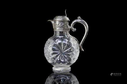 ENGLISH SILVER MOUNTED CUT GLASS CLARET JUG