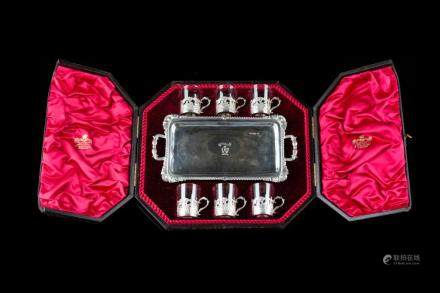 LATE VICTORIAN ENGLISH SILVER CASED DRINKS SET