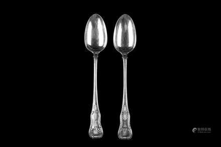 PAIR OF GEORGE IV ENGLISH SILVER STUFFING SPOONS
