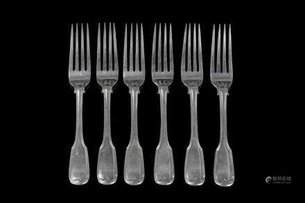 SIX VICTORIAN ENGLISH SILVER TABLE FORKS