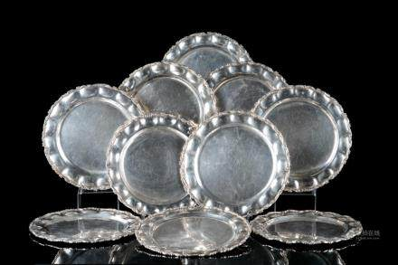 TEN MEXICAN SILVER CHARGER PLATES