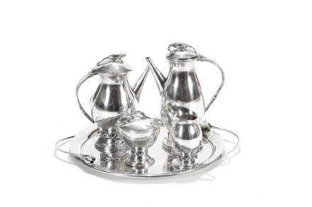 FIVE PIECE DURHAM SILVER TEA  & COFFEE SERVICE