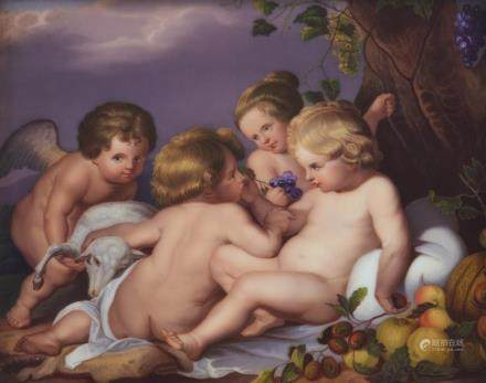 AUSTRIAN HAND PAINTED PORCELAIN PLAQUE