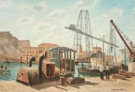 André HAMBOURG (1909-1999), Le port de Marseille avant la guerre, huile sur toi