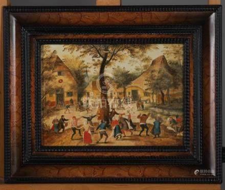 Ecole flamande XIXème - Scène fête de village dans le goût de Brueghel - Huile