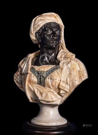 Buste de Maure enturbanné en marbre noir de Belgique, vert antique et albâtre r
