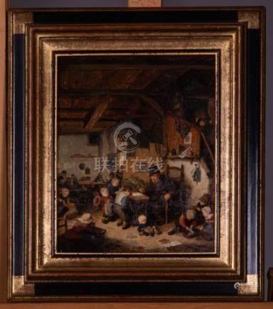 Ecole flamande XIXème - La route du village dans le gout de Brueghel - Au dos t
