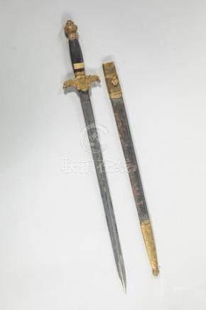 Dague de l'Ecole Impériale Forestière du Second Empire - Fusée en corne rainuré