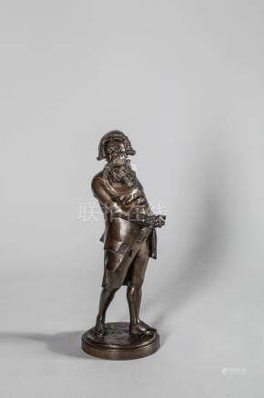 Ecole française Fin XVIII Début XIXème - Bronze à patine médaille représentant