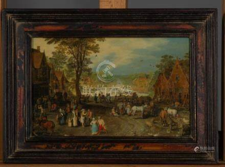 Ecole flamande XIXème - Scène de village au bord de l'eau dans le gout de Brueg