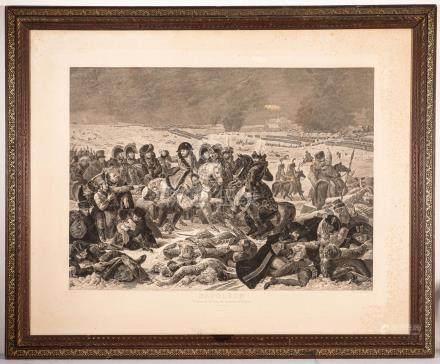 Gravure représentant Napoléon sur le champ de bataille d'Eylau, le 9 février 18