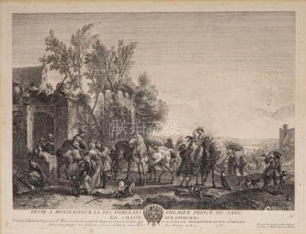 La chasse aux Eperviers Gravure à l'eau forte par Jean MOYREAU (1690-1762)D'apr
