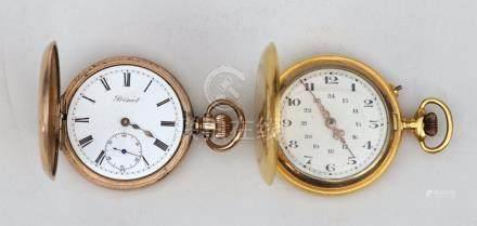 """LOT de deux MONTRES de poche en métal doré de style """"savonnette""""   ( mouvements"""