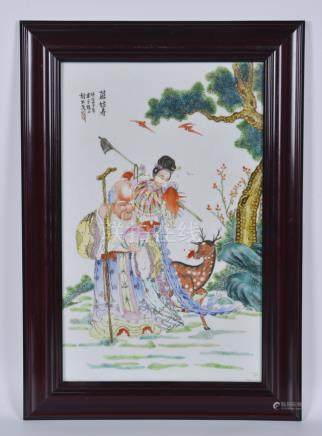民国 粉彩麻姑献寿瓷板