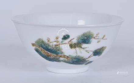 民国 粉彩三清纹碗