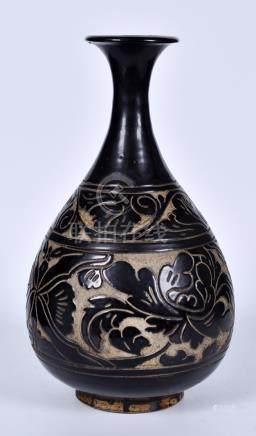 磁州窑牡丹花卉纹玉壶春瓶