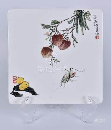 阿炯 粉彩大利富贵瓷板