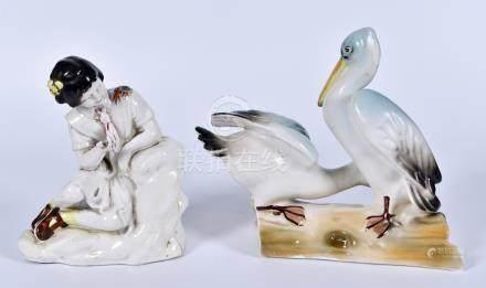 50年代 粉彩双鹭及少女瓷塑两件