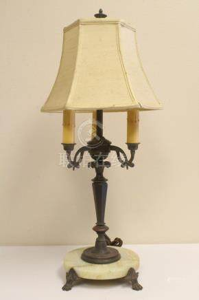 antique bronze and onyx based 3-light table lamp