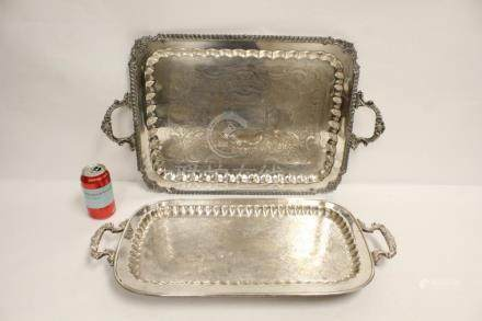 2 Victorian silverplate serving trays