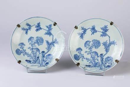 CHINE. Paire d'ASSIETTES circulaires en porcelaine à décor bleu blanc d'une pay