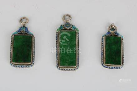 Set of Green jade inlaid with silver pendant